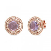 0.53ct Diamond & 1.88ct Amethyst 14k Rose Gold Earrings