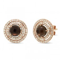 0.53ct Diamond & 1.66ct Smokey Topaz 14k Rose Gold Earrings