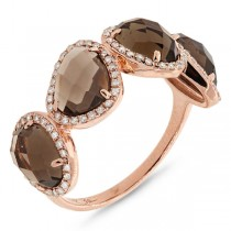 0.27ct Diamond & 3.43ct Smokey Topaz 14k Rose Gold Ring