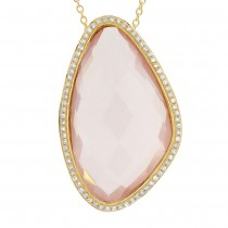 0.23ct Diamond & 18.73ct Rose Quartz 14k Yellow Gold Pendant Necklace