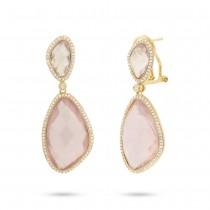 0.62ct Diamond & 29.07ct Rose Quartz 14k Yellow Gold Earrings