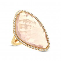 0.10ct Diamond & 16.08ct Rose Quartz 14k Yellow Gold Ring