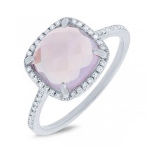 0.13ct Diamond & 2.90ct Amethyst 14k White Gold Ring