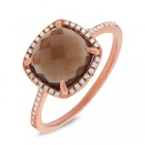 0.13ct Diamond & 2.91ct Smokey Topaz 14k Rose Gold Ring