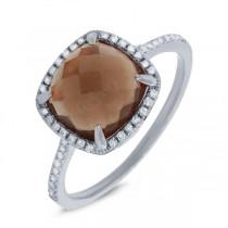 0.13ct Diamond & 2.91ct Smokey Topaz 14k White Gold Ring