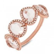 0.27ct Diamond & 3.58ct White Topaz 14k Rose Gold Ring