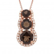 0.10ct Diamond & 0.75ct Smokey Topaz 14k Rose Gold Pendant Necklace