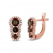 0.18ct Diamond & 0.84ct Smokey Topaz 14k Rose Gold Earrings