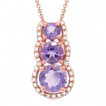 0.10ct Diamond & 0.82ct Amethyst 14k Rose Gold Pendant Necklace
