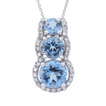 0.10ct Diamond & 1.19ct Blue Topaz 14k White Gold Pendant Necklace