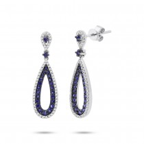 0.34ct Diamond & 0.66ct Blue Sapphire 14k White Gold Earrings