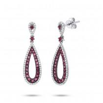 0.34ct Diamond & 0.92ct Ruby 14k White Gold Earrings