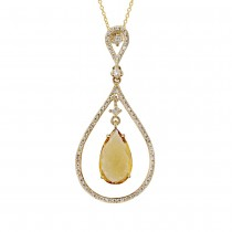 0.35ct Diamond & 3.01ct Citrine 14k Yellow Gold Pendant Necklace