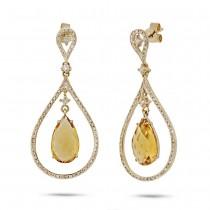0.54ct Diamond & 4.57ct Citrine 14k Yellow Gold Earrings