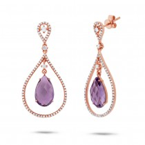 0.54ct Diamond & 4.36ct Amethyst 14k Rose Gold Earrings