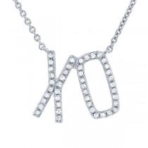 0.13ct 14k White Gold Diamond ''XO'' Necklace