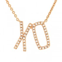 0.13ct 14k Yellow Gold Diamond ''XO'' Necklace