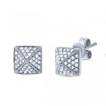 0.24ct 14k White Gold Diamond Pave Pyramid Earrings