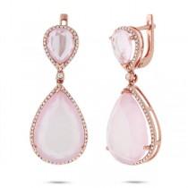 0.55ct Diamond & 29.53ct Rose Quartz 14k Rose Gold Earrings