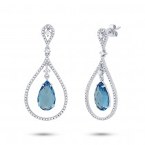 0.54ct Diamond & 5.59ct Blue Topaz 14k White Gold Earrings