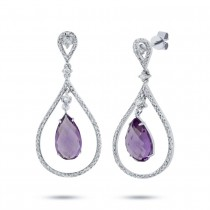 0.54ct Diamond & 4.36ct Amethyst 14k White Gold Earrings