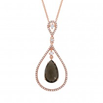 0.35ct Diamond & 3.30ct Smokey Topaz 14k White Gold Pendant Necklace