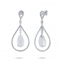 0.54ct Diamond & 4.52ct White Topaz 14k White Gold Earrings