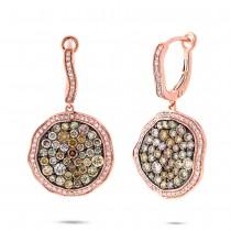 2.45ct 14k Rose Gold White & Multicolor Diamond Earrings