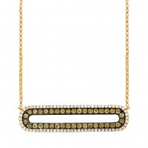 0.70ct 14k Yellow Gold White & Champagne Diamond Bar Necklace