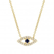 0.09ct Diamond & 0.08ct Blue Sapphire 14k Yellow Gold Eye Necklace