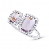 0.22ct Diamond & 1.99ct Amethyst 14k White Gold Ring