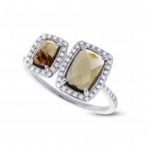 0.22ct Diamond & 2.09ct Smokey Topaz 14k White Gold Ring