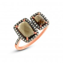 0.25ct Champagne Diamond & 2.09ct Smokey Topaz 14k Rose Gold Ring