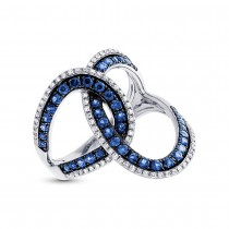 0.24ct Diamond & 0.83ct Blue Sapphire 14k White Gold Ring