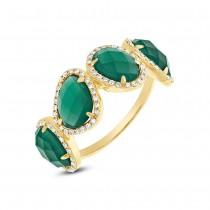 0.27ct Diamond & 3.80ct Green Agate 14k Yellow Gold Ring