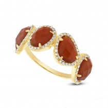 0.27ct Diamond & 3.70ct Red Agate 14k Yellow Gold Ring