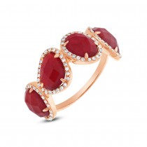 0.27ct Diamond & 3.75ct Red Agate 14k Rose Gold Ring