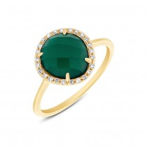 0.13ct Diamond & 1.95ct Green Agate 14k Yellow Gold Ring