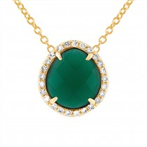 0.13ct Diamond & 1.95ct Green Agate 14k Yellow Gold Pendant Necklace