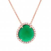 0.13ct Diamond & 1.95ct Green Agate 14k Rose Gold Pendant Necklace