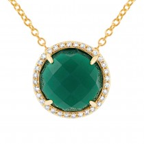 0.10ct Diamond & 3.32ct Green Agate 14k Yellow Gold Pendant Necklace