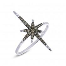 0.24ct 14k White Gold White & Champagne Diamond North Star Ring