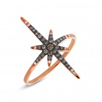 0.24ct 14k Rose Gold White & Champagne Diamond North Star Ring