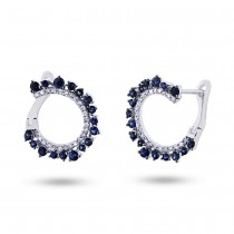 0.20ct Diamond & 0.78ct Blue Sapphire 14k White Gold Earrings