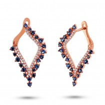 0.25ct Diamond & 1.06ct Blue Sapphire 14k Rose Gold Earrings