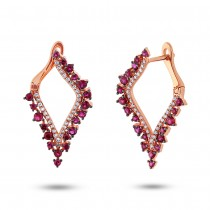 0.25ct Diamond & 0.94ct Ruby 14k Rose Gold Earrings
