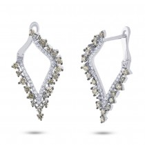 1.20ct 14k White Gold White & Champagne Diamond Earrings