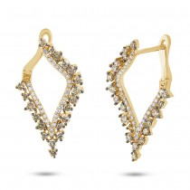 1.20ct 14k Yellow Gold White & Champagne Diamond Earrings