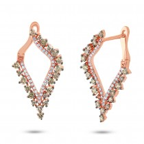 1.20ct 14k Rose Gold White & Champagne Diamond Earrings