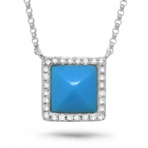0.09ct Diamond & 0.73ct Composite Turquoise 14k White Gold Necklace